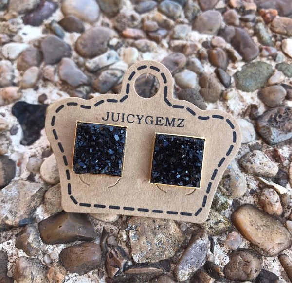 12mm Black Drusy Squares