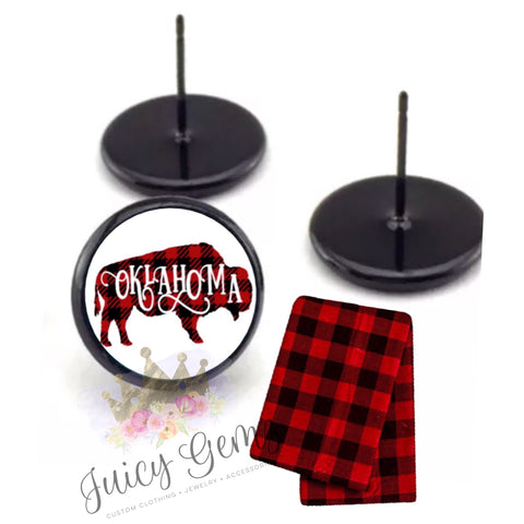 Oklahoma Plaid Buffalo Studs - Juicy Gemz