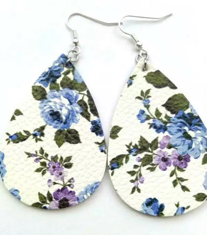 Blue/Purple Floral Leathers - Juicy Gemz
