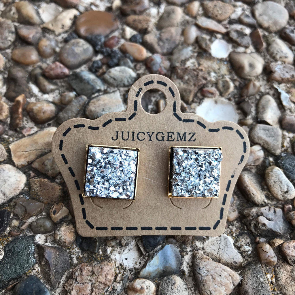 12 mm Silver drusy squares