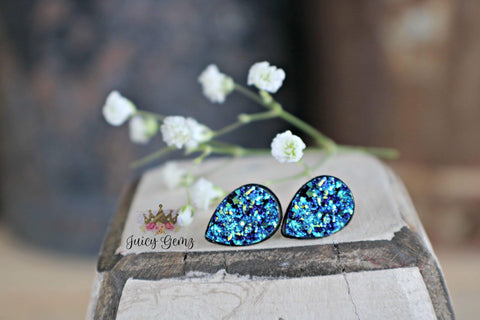 Blue Drusy Teardrop Studs - Juicy Gemz