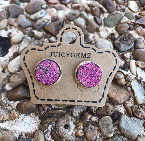 12mm Fuchsia Sparkle Drusy Rounds - Juicy Gemz