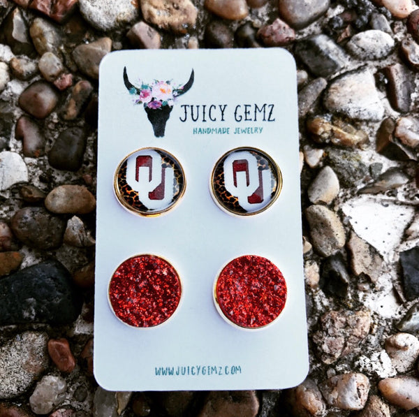 Game Day OU Leopard / Crimson Drusy Pack - Juicy Gemz