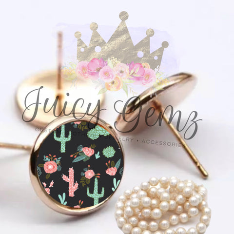 Black Cactus Floral - Juicy Gemz