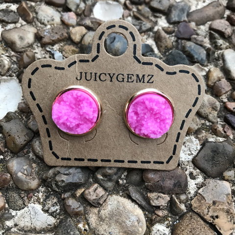 12mm glamour pink druzys - Juicy Gemz