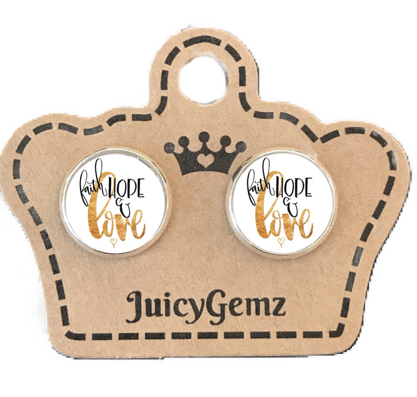 Faith Hope Love Studs - Juicy Gemz