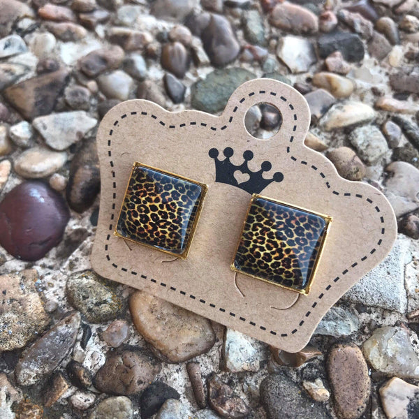 12mm Leopard Square Gold Setting Earrings - Juicy Gemz