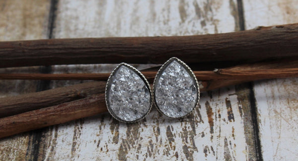 Silver Tear Drop Studs - Juicy Gemz