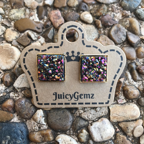 Multi Drusy Square Studs - Juicy Gemz