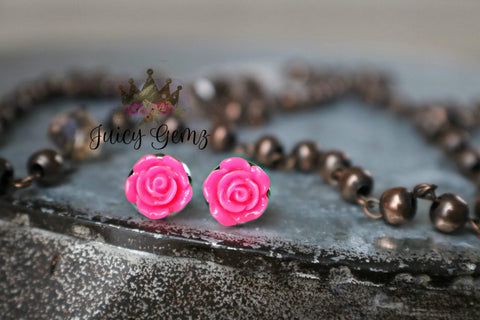 Neon Pink Mini Rose Studs - Juicy Gemz