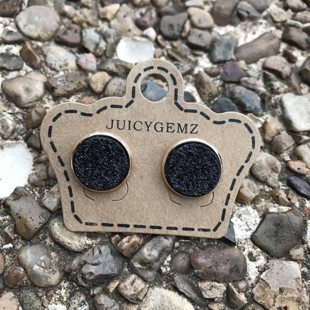 12mm Glamour Black Druzys - Juicy Gemz