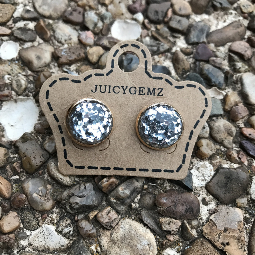 12mm Silver Glitter Confetti Studs - Juicy Gemz