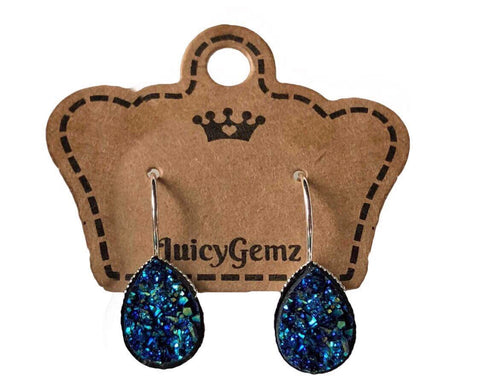 Blue Drusy Teardrop Drops - Juicy Gemz