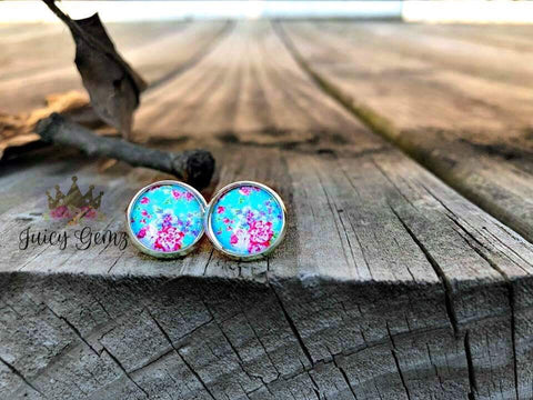 8mm new teal floral - Juicy Gemz