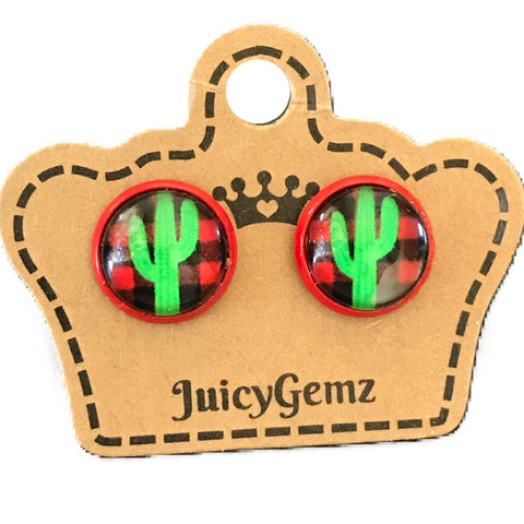 Plaid Cactus Studs - Juicy Gemz