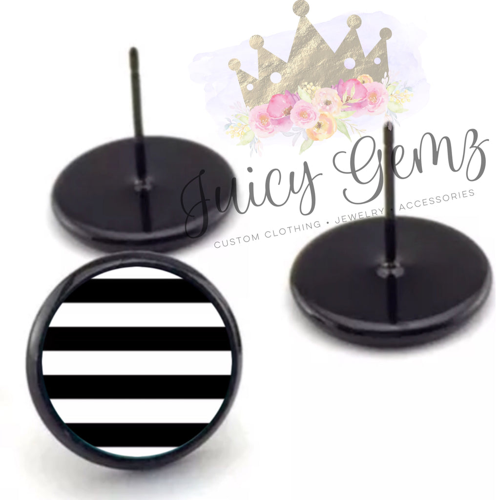 BW Stripe Studs - Juicy Gemz