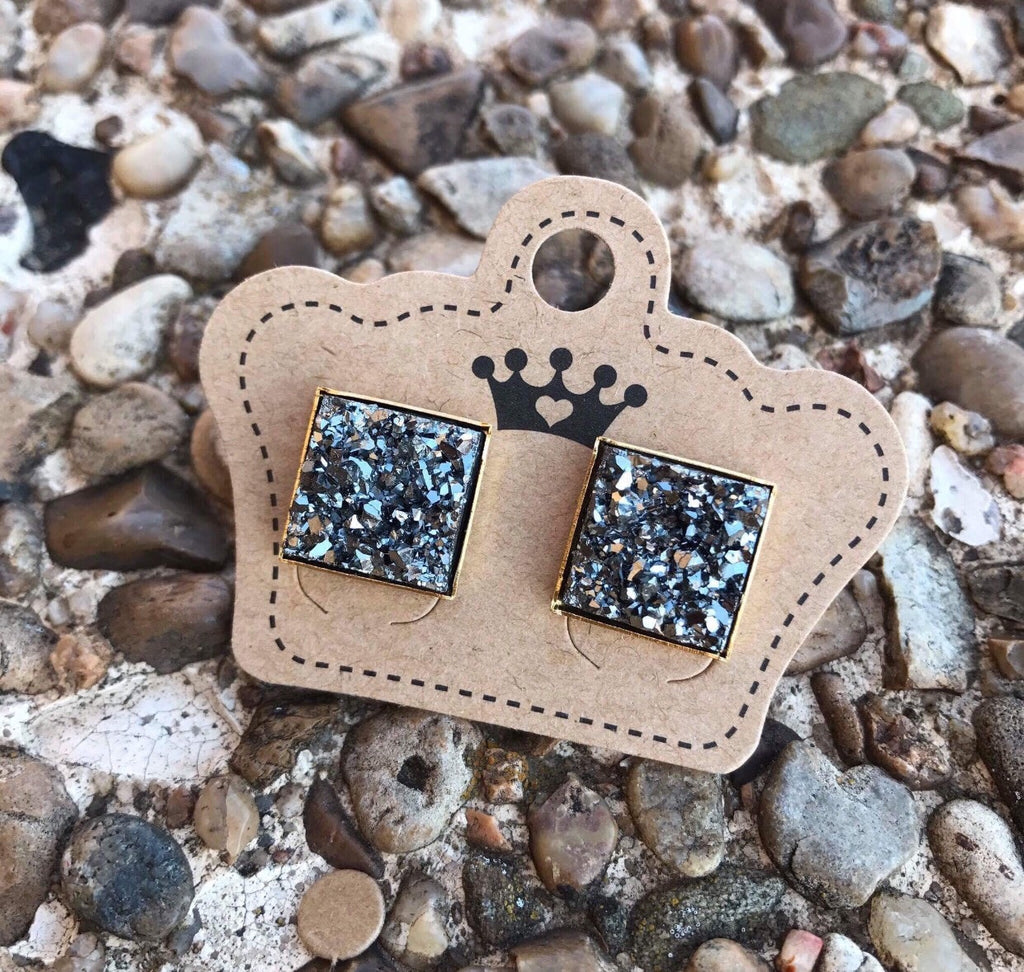 12mm Charcoal Drusy Squares