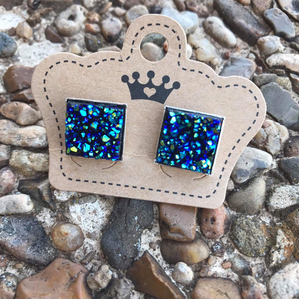 12mm Blue Drusy Square Earrings