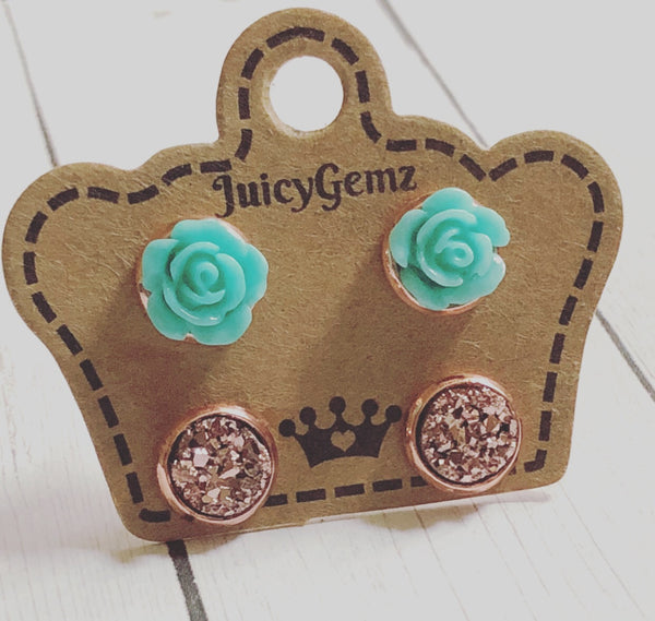 Mini Teal Roses/ RoseGold Drusy Duo Pack - Juicy Gemz