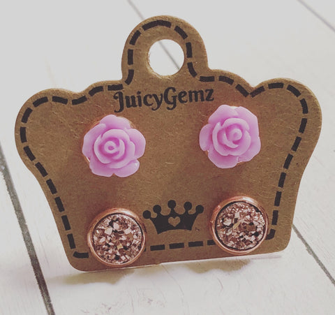 Mini Lavender Roses/ Rose Gold Duo Pack - Juicy Gemz