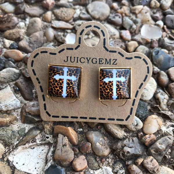 12mm leopard crosses - Juicy Gemz