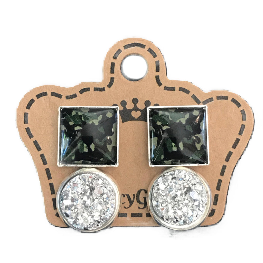 Camo/ Silver Drusy Duo Pack - Juicy Gemz