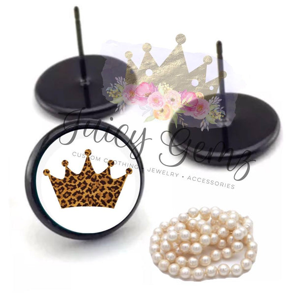 Leopard Crown Studs - Juicy Gemz