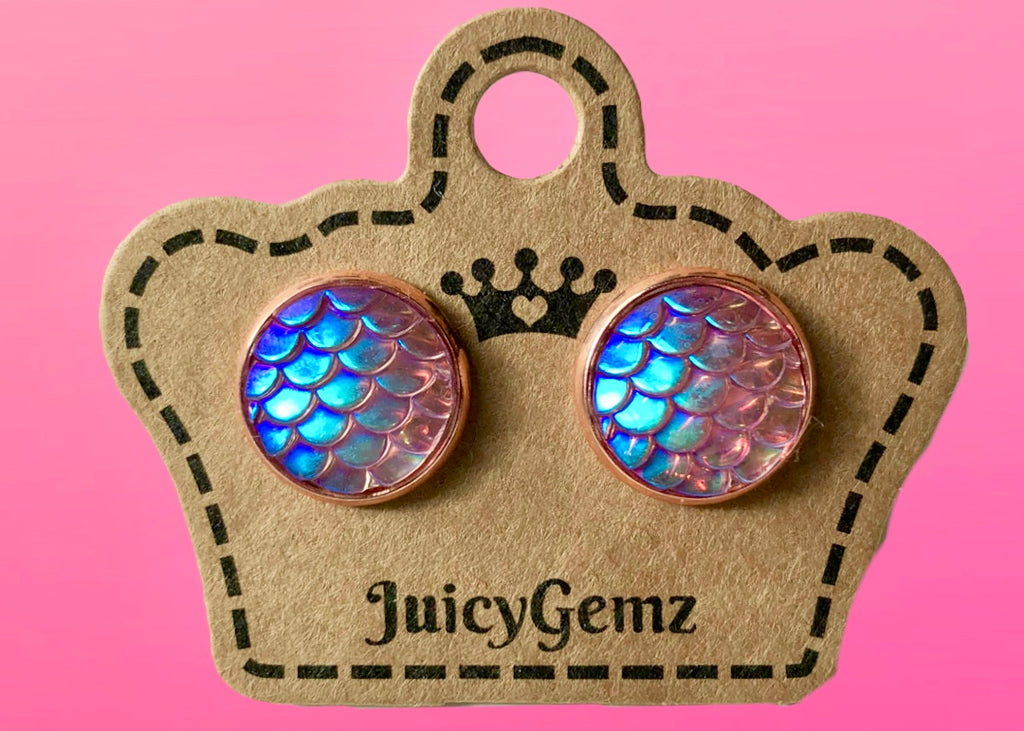 Purple/Pink Mermaid Studs - Juicy Gemz