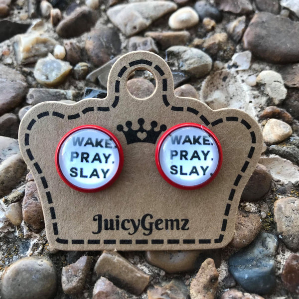 Wake Pray Slay Studs - Juicy Gemz