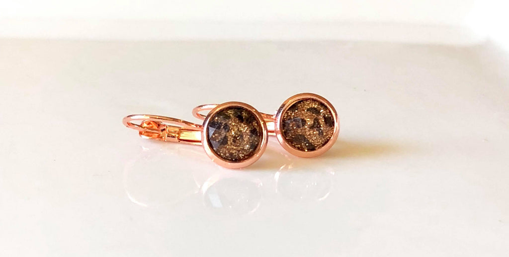 8mm sparkle leopard on rose gold drops
