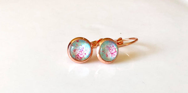 8mm new teal floral drops in rose gold - Juicy Gemz