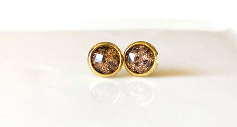 8mm Leopard Sparkle studs in gold - Juicy Gemz