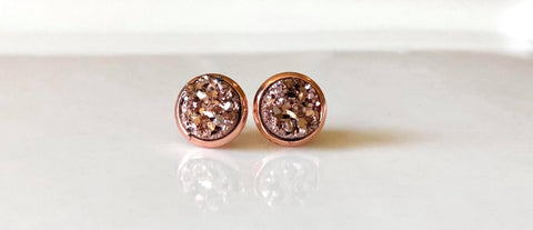 8mm Rose Gold Drusy studs in Rose Gold - Juicy Gemz