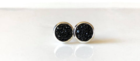 8mm Black drusys in silver - Juicy Gemz