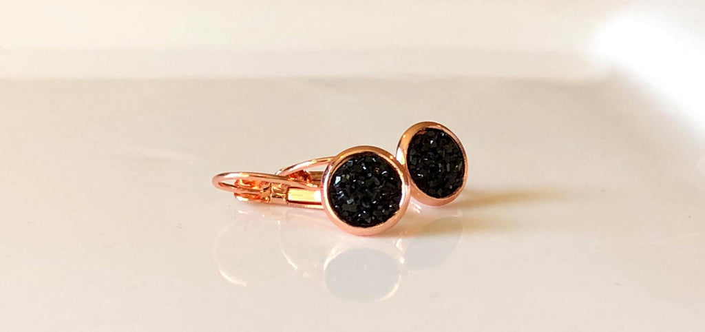 8mm Black drusys in rose gold drops - Juicy Gemz