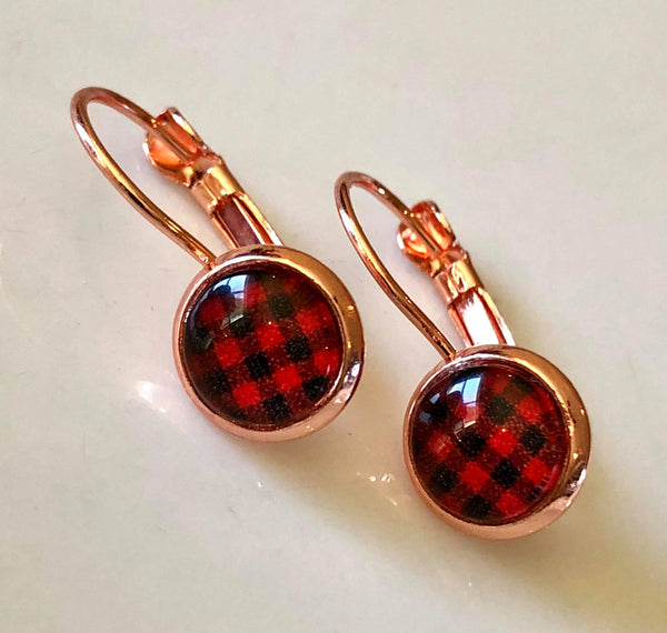 8mm Rose gold plaid drops - Juicy Gemz