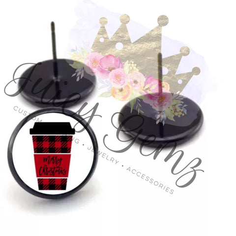 Red Plaid Cup Studs - Juicy Gemz