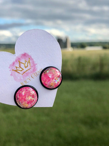 Hot Pink and Gold Marble Studs - Juicy Gemz