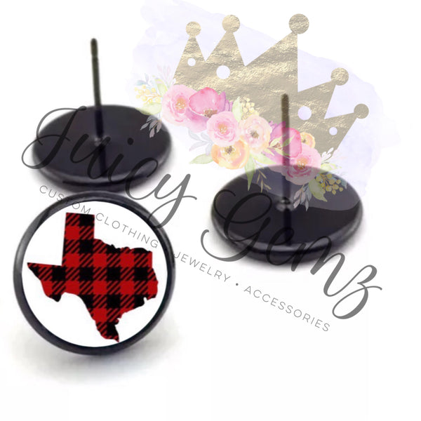 Red Plaid Texas Studs - Juicy Gemz