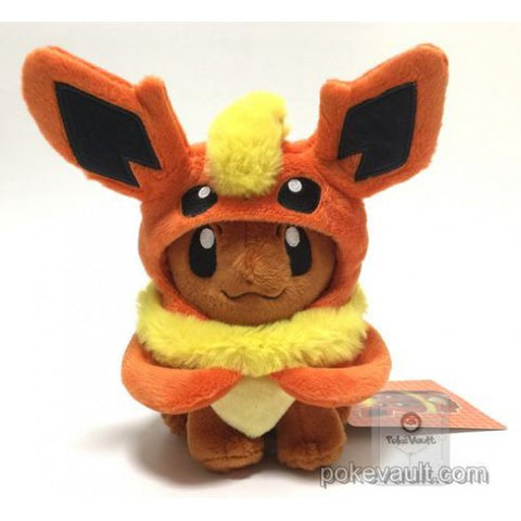 Pokemon Center 2017 Eevee Poncho Campaign Flareon Plush Toy