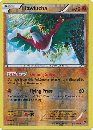 Hawlucha Reverse Holo Rare - 63/111 - Furious Fists