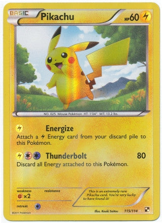 Pikachu Secret Rare - 115/114 - Black and White Base