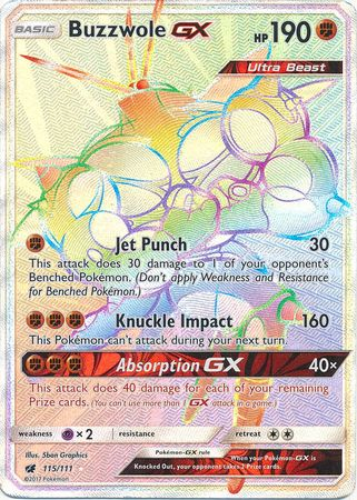 Buzzwole GX Secret Rare - 115/111 - Crimson Invasion