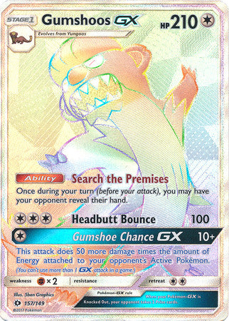 Gumshoos GX Full Art Rainbow Rare - 157/149 - Sun and Moon Base Set