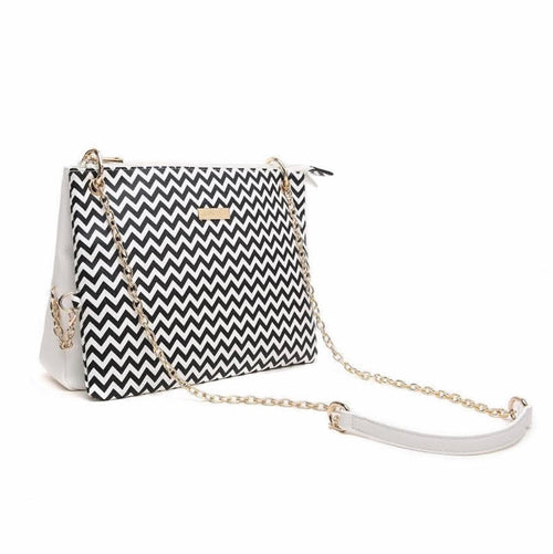 3 in 1  Iris White Chevron Purse