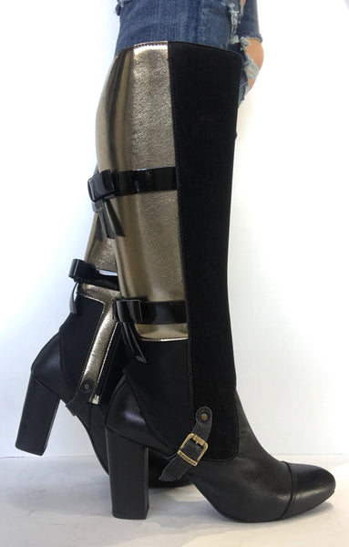 bt00 black/gold bow interchangeable ankle boot sleeve - galibelle
