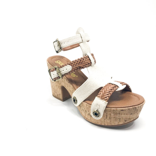 michelle me26 canvas raw/braid caramel strap