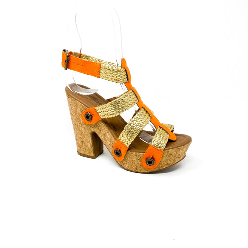 sara sr21 combo suede orange gold/ braid strap