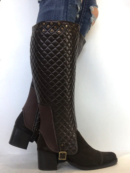 bt00 brown studded interchangeable ankle boot sleeve - galibelle