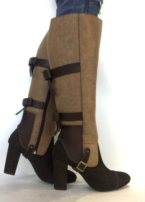 bt00 brown bow interchangeable ankle boot sleeve - galibelle